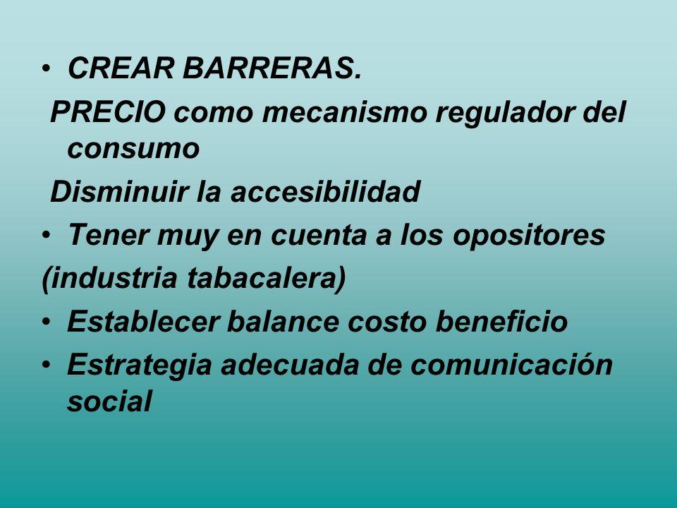 CREAR BARRERAS. PRECIO como mecanismo regulador del consumo Disminuir la accesibilidad Tener muy en cuenta a los opositores (industria tabacalera) Est