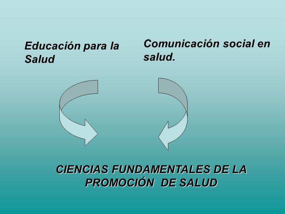Educación para la Salud Comunicación social en salud. CIENCIAS FUNDAMENTALES DE LA PROMOCIÓN DE SALUD
