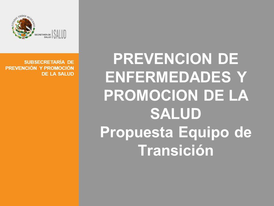 SUBSECRETARÍA DE PREVENCIÓN Y PROMOCIÓN DE LA SALUD PREVENCION DE ENFERMEDADES Y PROMOCION DE LA SALUD Propuesta Equipo de Transición