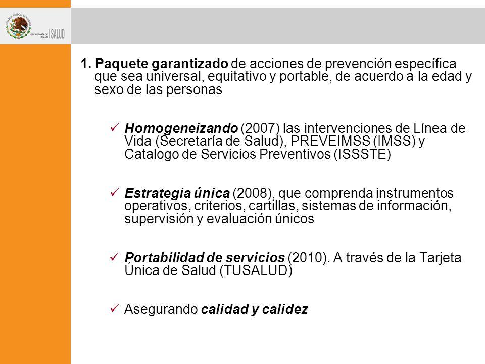 1. Paquete garantizado de acciones de prevención específica que sea universal, equitativo y portable, de acuerdo a la edad y sexo de las personas Homo