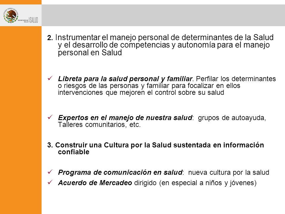 2. Instrumentar el manejo personal de determinantes de la Salud y el desarrollo de competencias y autonomía para el manejo personal en Salud Libreta p