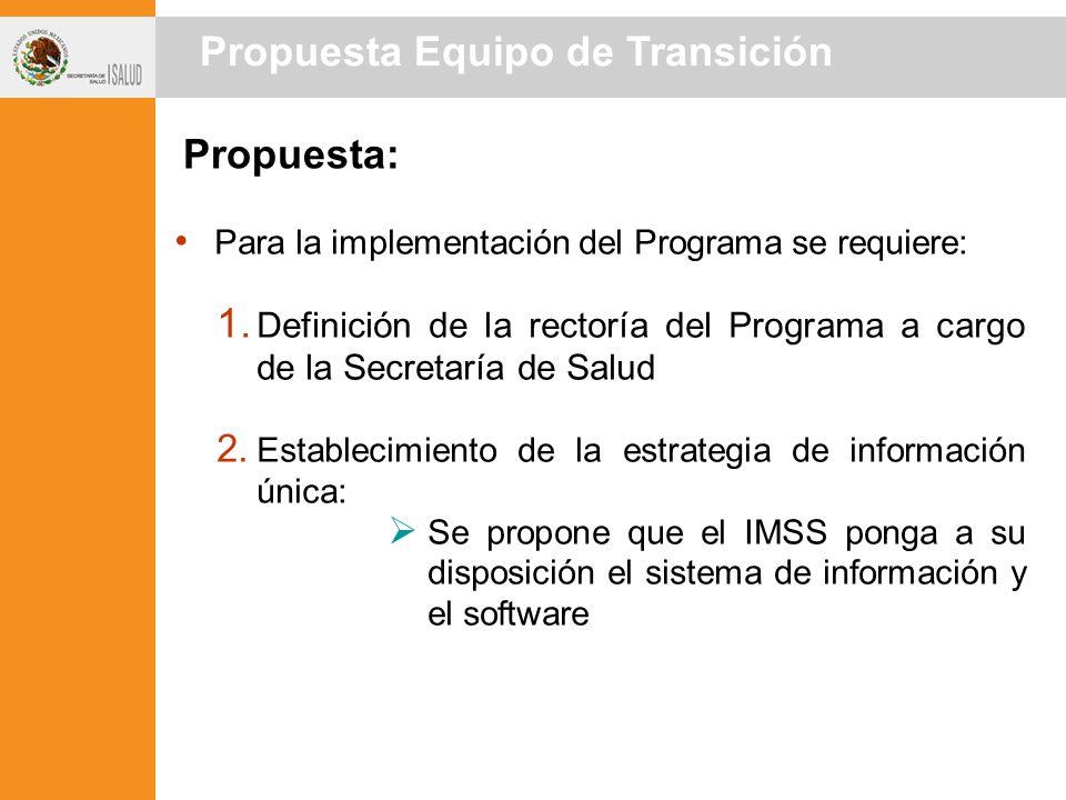 Propuesta: Para la implementación del Programa se requiere: 1.