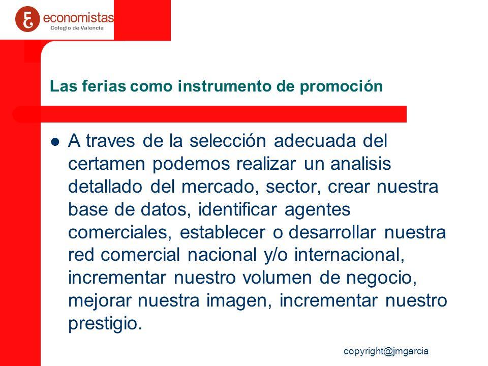 copyright@jmgarcia Las ferias como instrumento de promoción A traves de la selección adecuada del certamen podemos realizar un analisis detallado del