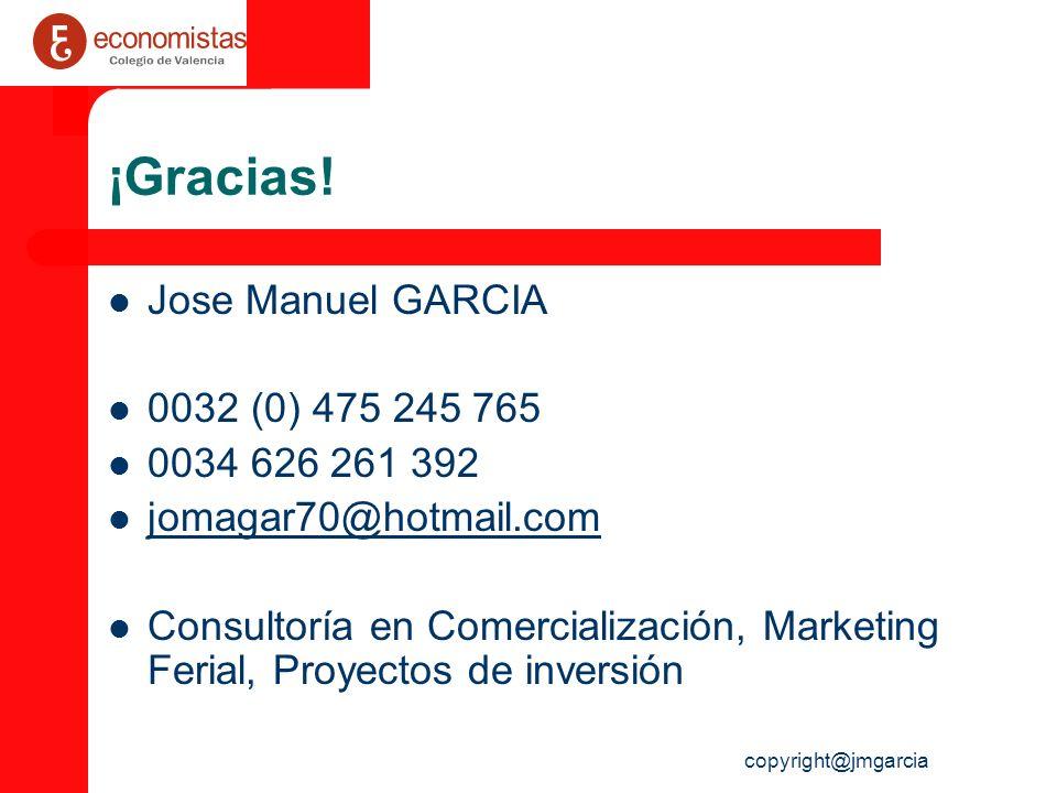 copyright@jmgarcia ¡Gracias! Jose Manuel GARCIA 0032 (0) 475 245 765 0034 626 261 392 jomagar70@hotmail.com Consultoría en Comercialización, Marketing