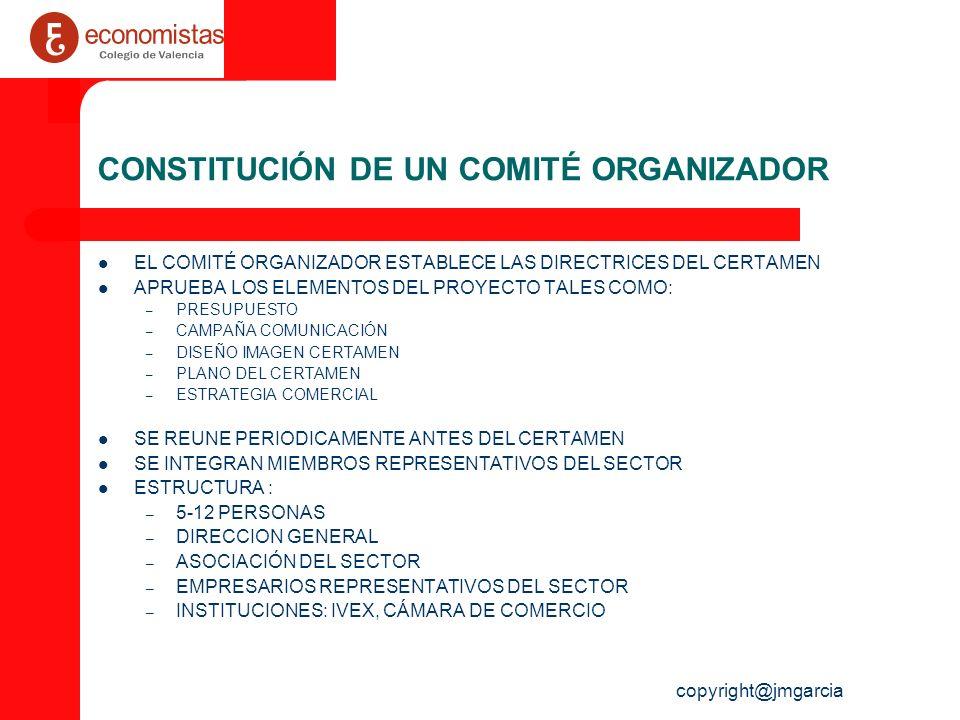 copyright@jmgarcia DESIGNACIÓN DE PROJECT MANAGER HABITUALMENTE SE DESIGNA UN EQUIPO DE TRABAJO PARA DESARROLLAR Y GESTIONAR EL EVENTO LO NORMAL ES QUE SE DESIGNE UN PROJECT MANAGER, EL CUAL GESTIONA CERTAMENES POR ÁREAS TEMÁTICAS (INDUSTRIA, OCIO, ARTE…) ESTE ÚLTIMO SE APOYA EN UN PROJECT TEAM (COMERCIALES, ADMINISTRATIVOS…) EL PROJECT MANAGER EJECUTA LA ESTRATEGIA DEL CERTAMEN (CRONOGRAMA, GESTIÓN DEL EQUIPO ETC…)