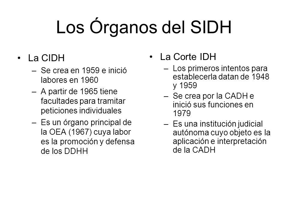 Los Órganos del SIDH La CIDH –Se crea en 1959 e inició labores en 1960 –A partir de 1965 tiene facultades para tramitar peticiones individuales –Es un