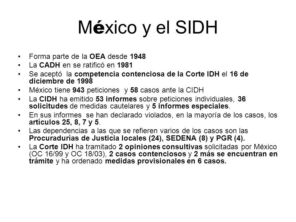 M é xico y el SIDH Forma parte de la OEA desde 1948 La CADH en se ratificó en 1981 Se aceptó la competencia contenciosa de la Corte IDH el 16 de dicie