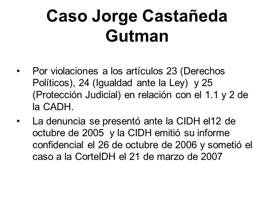 Caso Jorge Castañeda Gutman Por violaciones a los artículos 23 (Derechos Políticos), 24 (Igualdad ante la Ley) y 25 (Protección Judicial) en relación