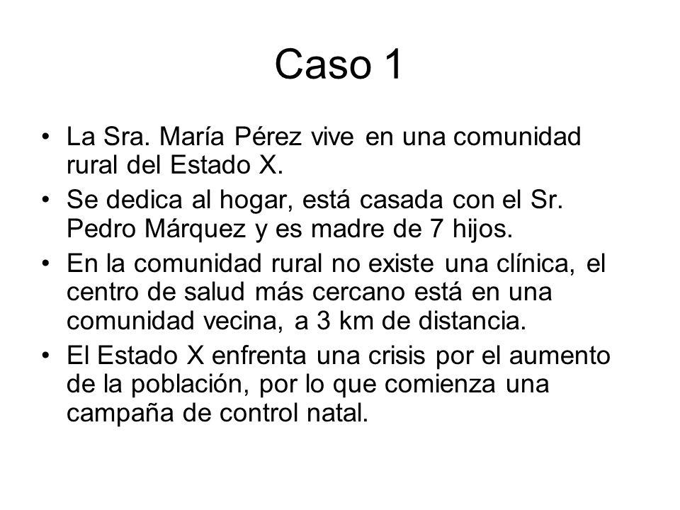Caso 1 La Sra. María Pérez vive en una comunidad rural del Estado X. Se dedica al hogar, está casada con el Sr. Pedro Márquez y es madre de 7 hijos. E