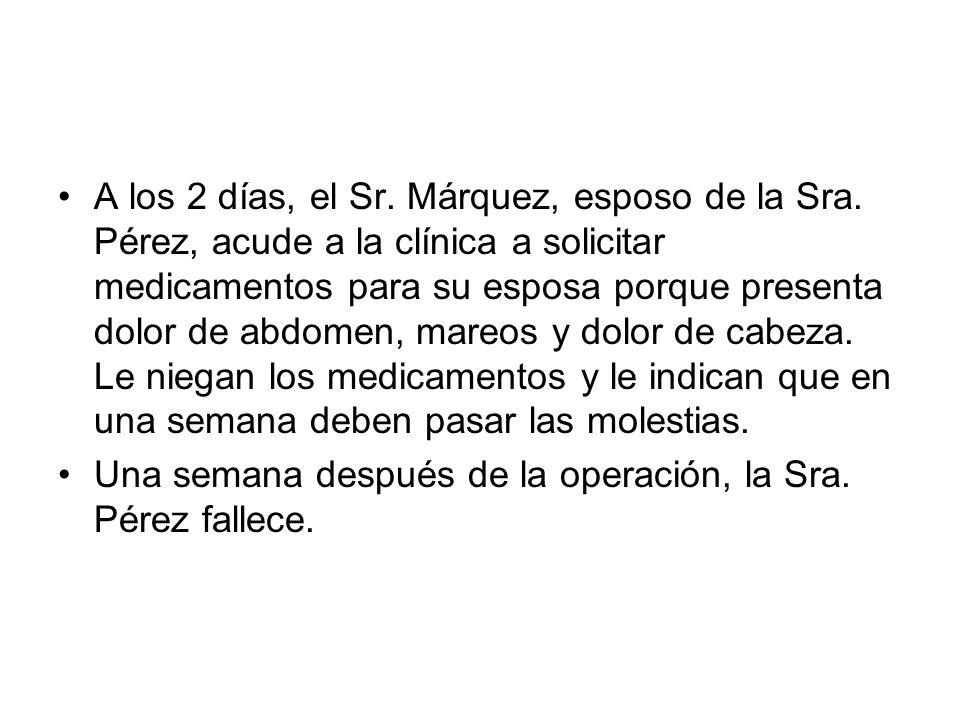 A los 2 días, el Sr. Márquez, esposo de la Sra. Pérez, acude a la clínica a solicitar medicamentos para su esposa porque presenta dolor de abdomen, ma