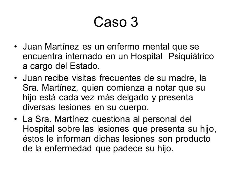 Caso 3 Juan Martínez es un enfermo mental que se encuentra internado en un Hospital Psiquiátrico a cargo del Estado. Juan recibe visitas frecuentes de