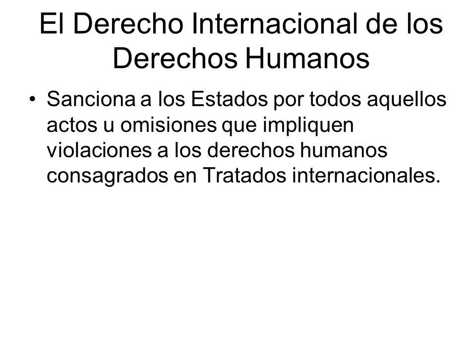 El Derecho Internacional de los Derechos Humanos Fija estándares a los gobiernos sobre el respeto y promoción de los derechos humanos, fija las consecuencias de no aplicar dichos estándares y reparar los daños a las víctimas de las violaciones a tales derechos.