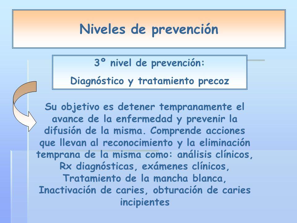 Niveles de prevención 3º nivel de prevención: Diagnóstico y tratamiento precoz Su objetivo es detener tempranamente el avance de la enfermedad y prevenir la difusión de la misma.