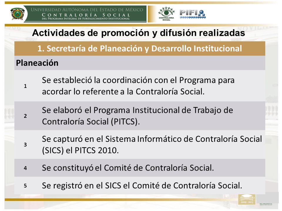1. Secretaría de Planeación y Desarrollo Institucional Planeación 1 Se estableció la coordinación con el Programa para acordar lo referente a la Contr