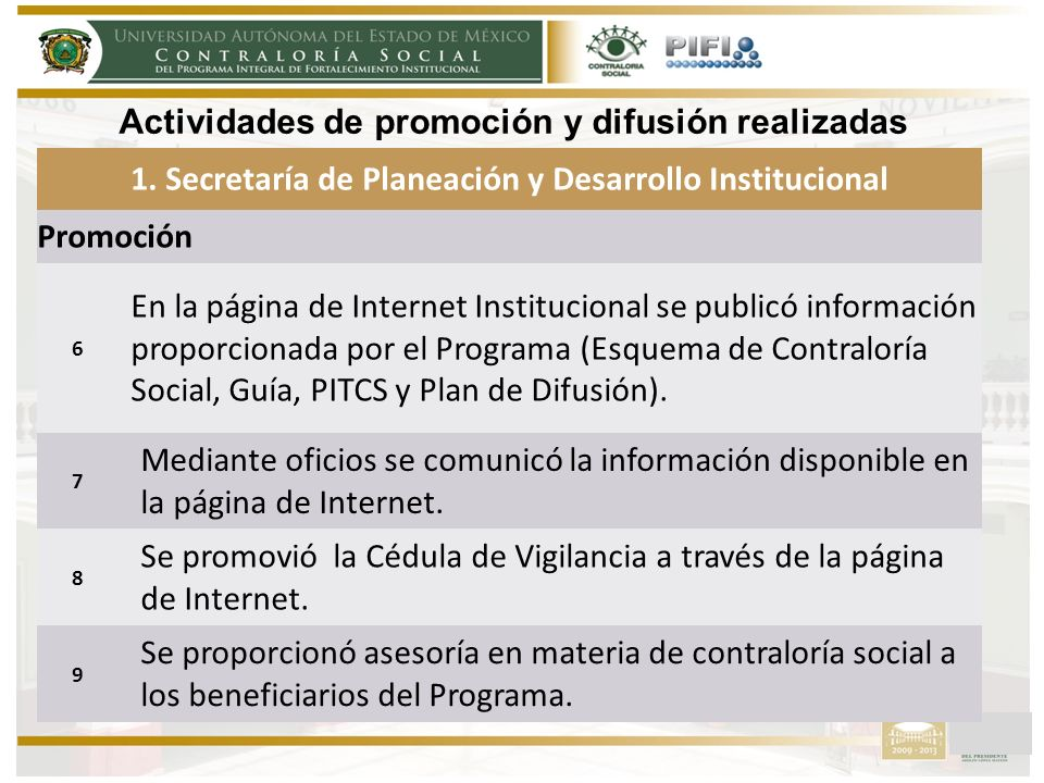 1. Secretaría de Planeación y Desarrollo Institucional Promoción 6 En la página de Internet Institucional se publicó información proporcionada por el
