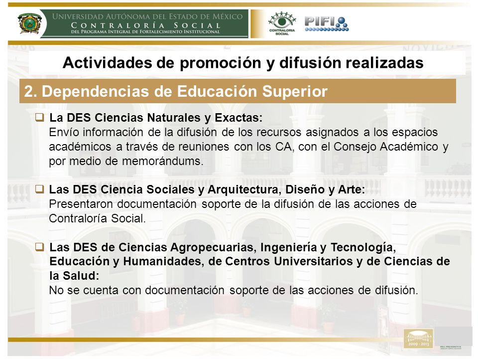 La DES Ciencias Naturales y Exactas: Envío información de la difusión de los recursos asignados a los espacios académicos a través de reuniones con los CA, con el Consejo Académico y por medio de memorándums.