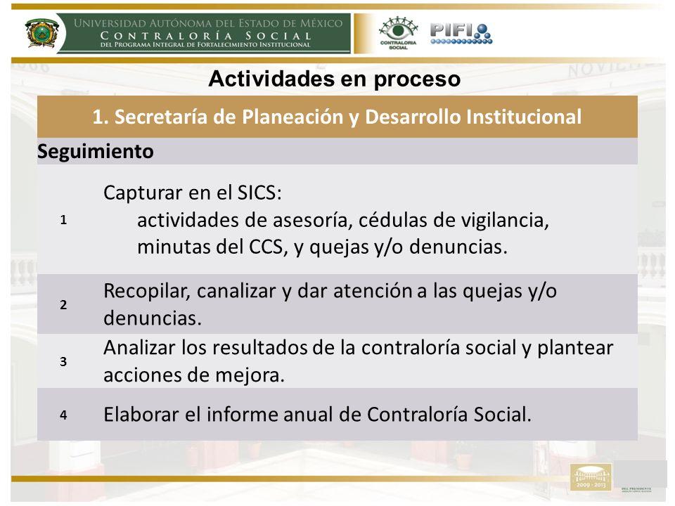 1. Secretaría de Planeación y Desarrollo Institucional Seguimiento 1 Capturar en el SICS: actividades de asesoría, cédulas de vigilancia, minutas del