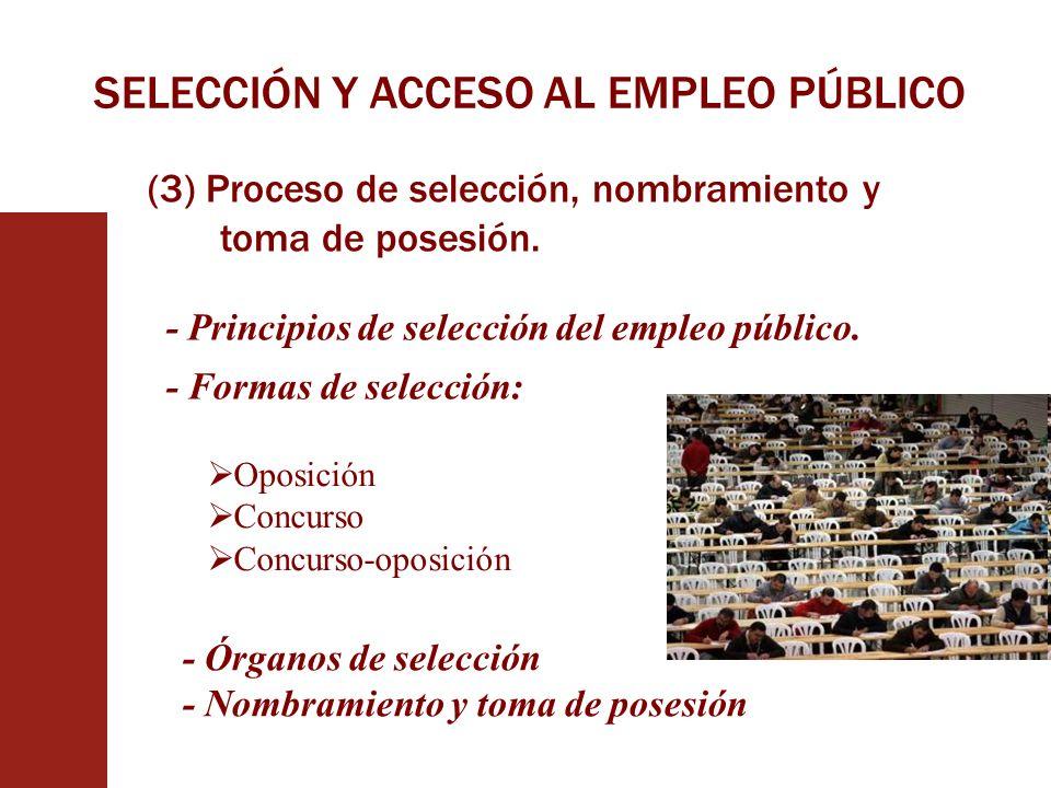 SELECCIÓN Y ACCESO AL EMPLEO PÚBLICO (3) Proceso de selección, nombramiento y toma de posesión. - Principios de selección del empleo público. - Formas