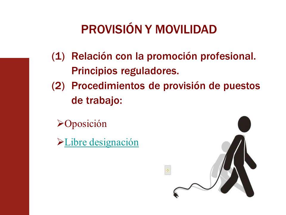 PROVISIÓN Y MOVILIDAD (1)Relación con la promoción profesional. Principios reguladores. (2)Procedimientos de provisión de puestos de trabajo: Oposició