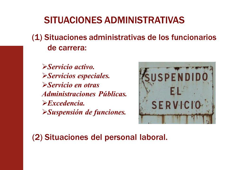 SITUACIONES ADMINISTRATIVAS (1) Situaciones administrativas de los funcionarios de carrera: Servicio activo. Servicios especiales. Servicio en otras A