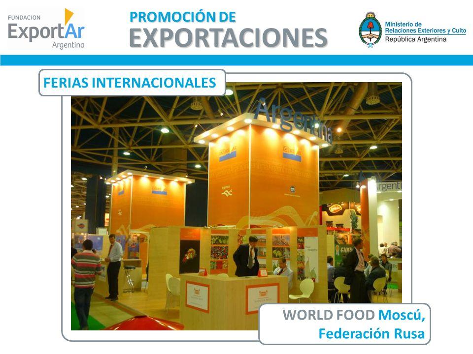 FERIAS INTERNACIONALES WORLD FOOD Moscú, Federación Rusa EXPORTACIONES PROMOCIÓN DE