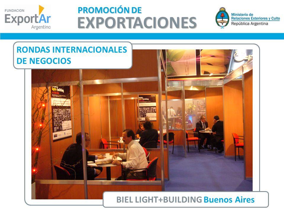RONDAS INTERNACIONALES DE NEGOCIOS BIEL LIGHT+BUILDING Buenos Aires EXPORTACIONES PROMOCIÓN DE