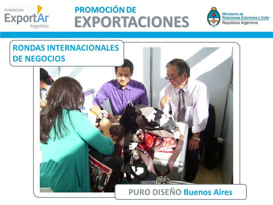 RONDAS INTERNACIONALES DE NEGOCIOS PURO DISEÑO Buenos Aires EXPORTACIONES PROMOCIÓN DE