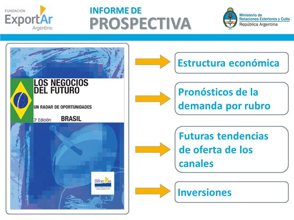 Estructura económica Pronósticos de la demanda por rubro Futuras tendencias de oferta de los canales Inversiones PROSPECTIVA INFORME DE