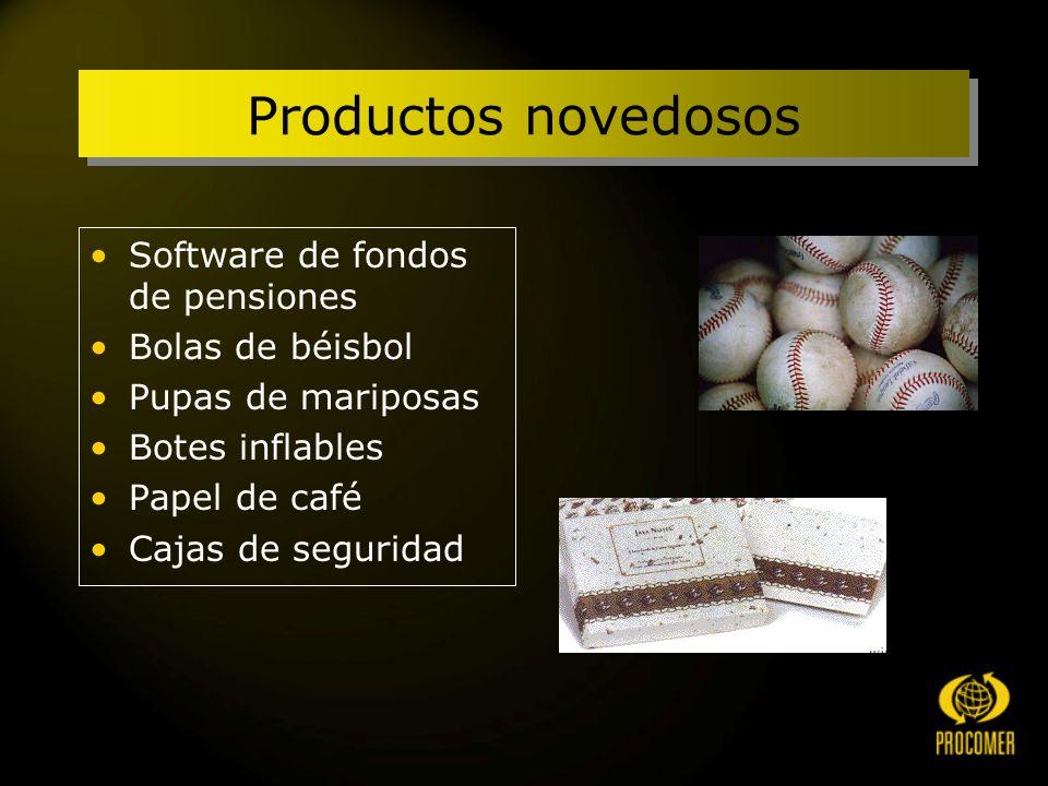 Productos novedosos Software de fondos de pensiones Bolas de béisbol Pupas de mariposas Botes inflables Papel de café Cajas de seguridad