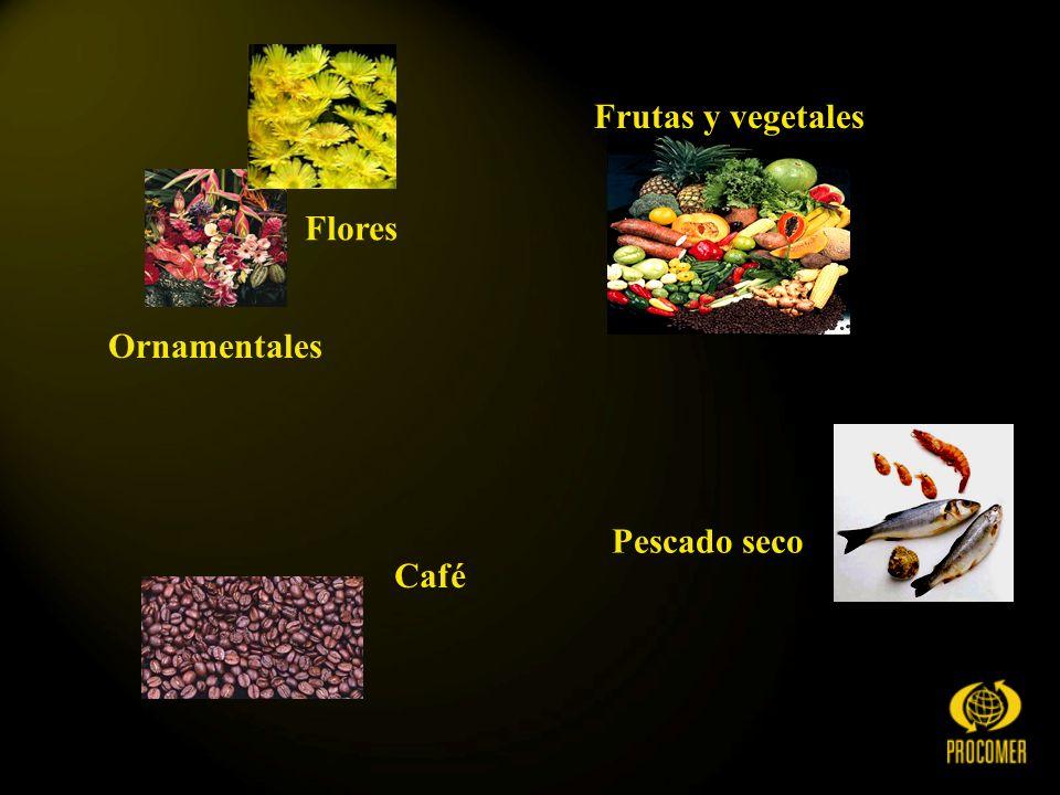 Ornamentales Flores Frutas y vegetales Café Pescado seco