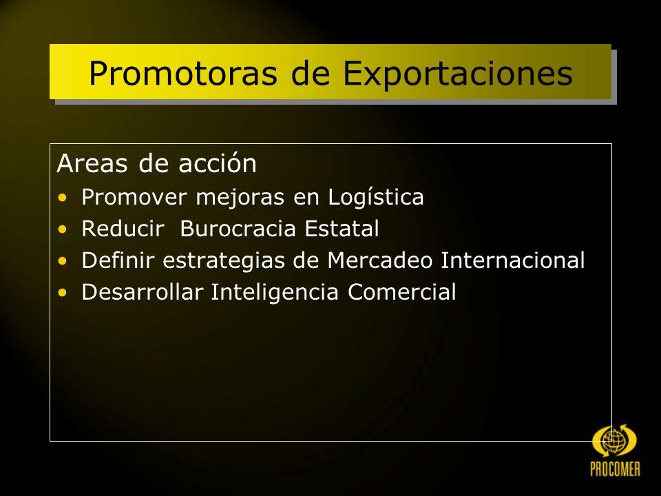 Promotoras de Exportaciones Areas de acción Promover mejoras en Logística Reducir Burocracia Estatal Definir estrategias de Mercadeo Internacional Desarrollar Inteligencia Comercial