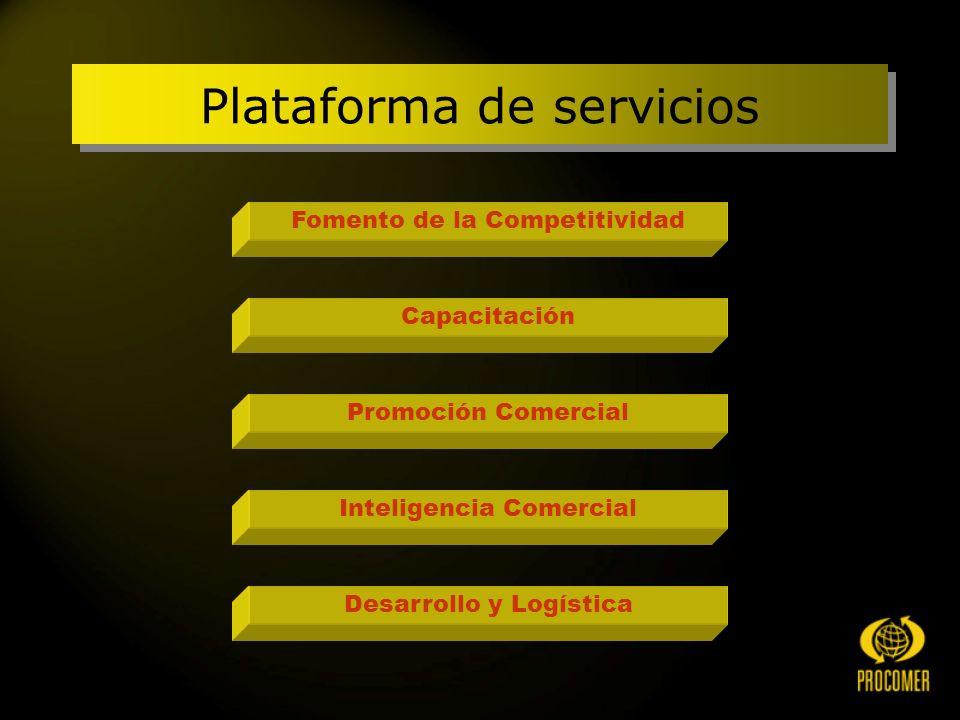 Fomento de la Competitividad Capacitación Promoción Comercial Inteligencia Comercial Desarrollo y Logística Plataforma de servicios