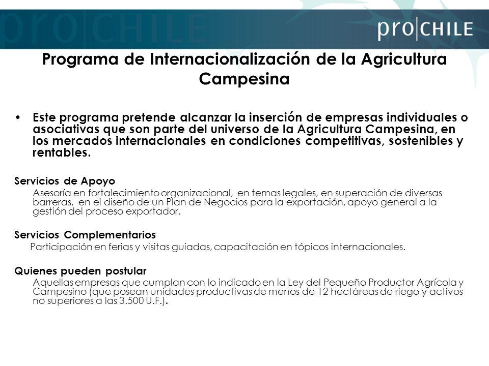 Programa de Internacionalización de la Agricultura Campesina Este programa pretende alcanzar la inserción de empresas individuales o asociativas que s