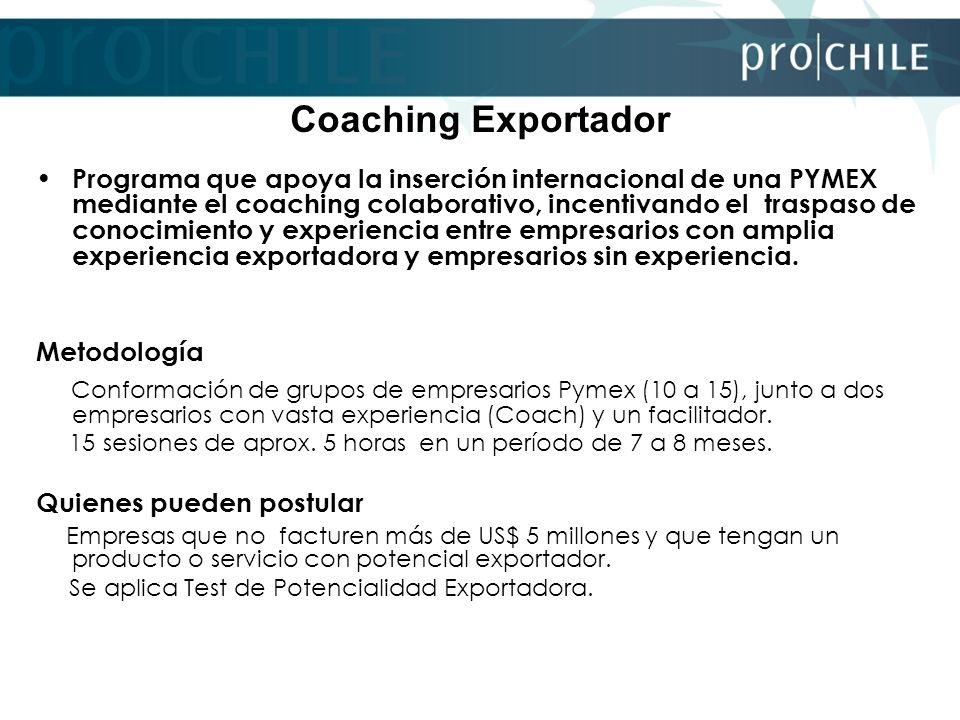 Coaching Exportador Programa que apoya la inserción internacional de una PYMEX mediante el coaching colaborativo, incentivando el traspaso de conocimi