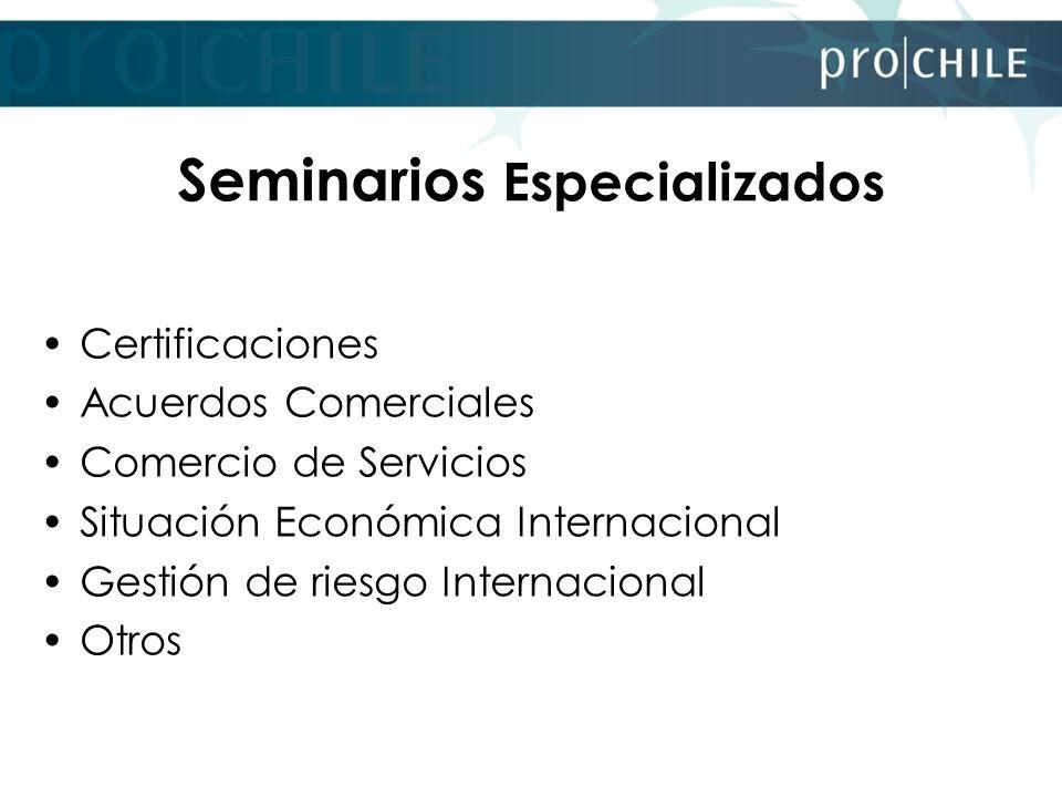 Seminarios Especializados Certificaciones Acuerdos Comerciales Comercio de Servicios Situación Económica Internacional Gestión de riesgo Internacional