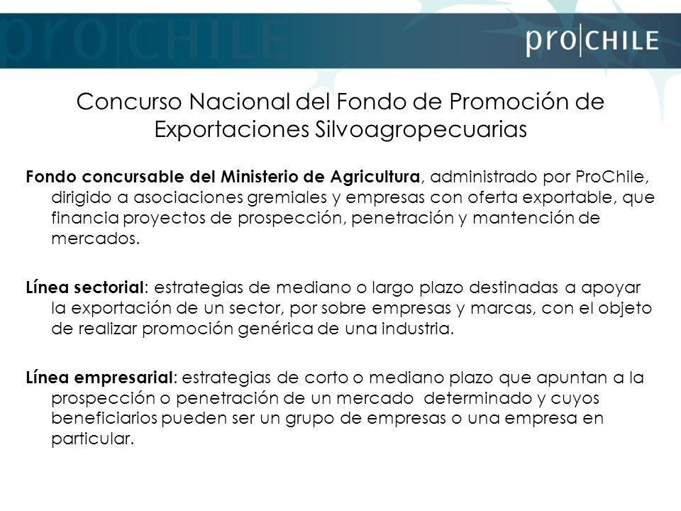 Concurso Nacional del Fondo de Promoción de Exportaciones Silvoagropecuarias Fondo concursable del Ministerio de Agricultura, administrado por ProChil