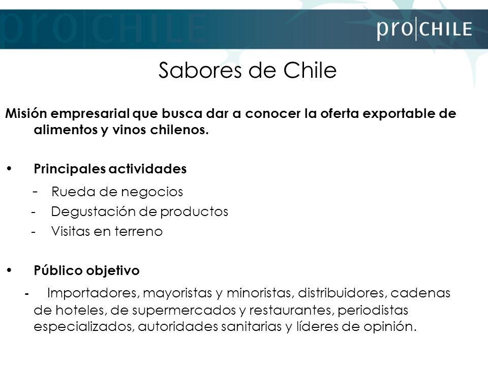 Sabores de Chile Misión empresarial que busca dar a conocer la oferta exportable de alimentos y vinos chilenos. Principales actividades - Rueda de neg