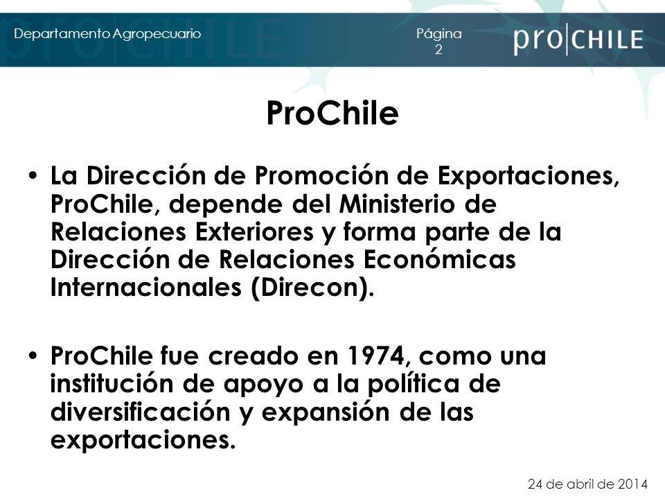 24 de abril de 2014 Departamento AgropecuarioPágina 2 ProChile La Dirección de Promoción de Exportaciones, ProChile, depende del Ministerio de Relacio