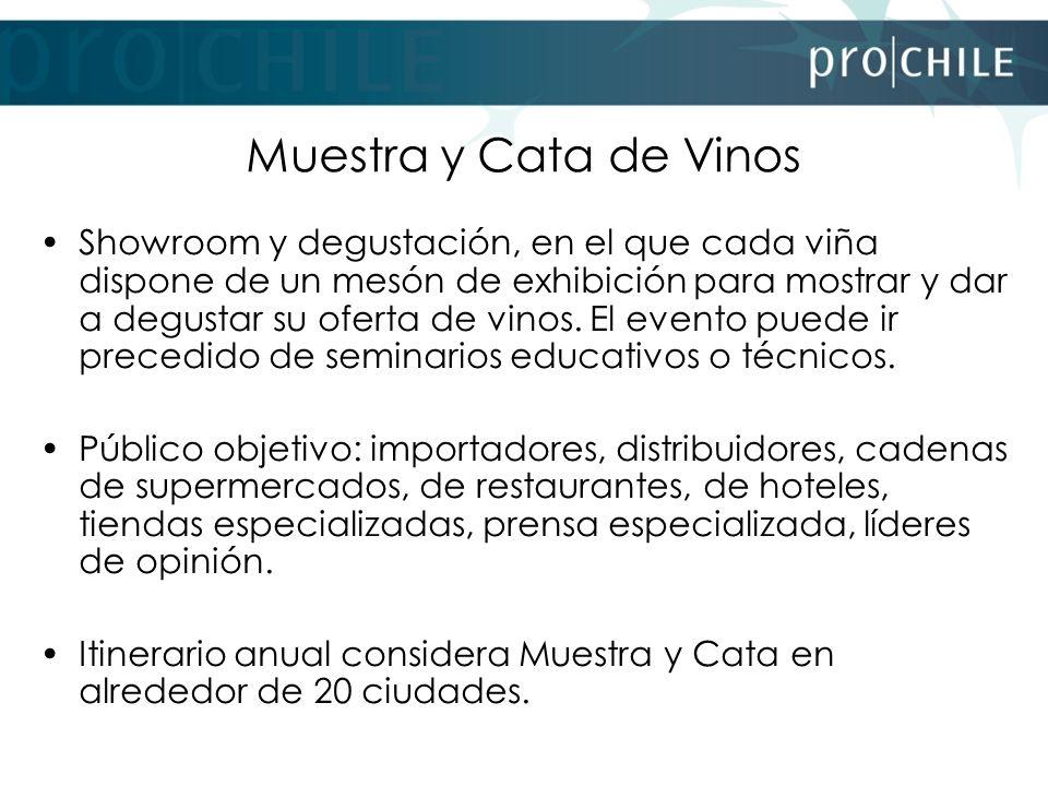 Muestra y Cata de Vinos Showroom y degustación, en el que cada viña dispone de un mesón de exhibición para mostrar y dar a degustar su oferta de vinos