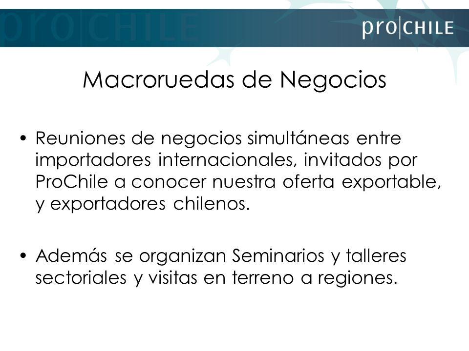 Macroruedas de Negocios Reuniones de negocios simultáneas entre importadores internacionales, invitados por ProChile a conocer nuestra oferta exportab