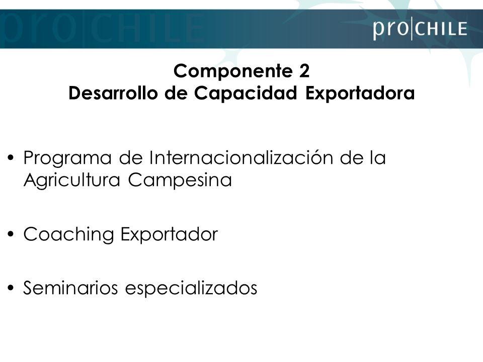Programa de Internacionalización de la Agricultura Campesina Este programa pretende alcanzar la inserción de empresas individuales o asociativas que son parte del universo de la Agricultura Campesina, en los mercados internacionales en condiciones competitivas, sostenibles y rentables.