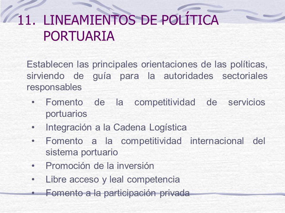11.LINEAMIENTOS DE POLÍTICA PORTUARIA Fomento de la competitividad de servicios portuarios Integración a la Cadena Logística Fomento a la competitivid