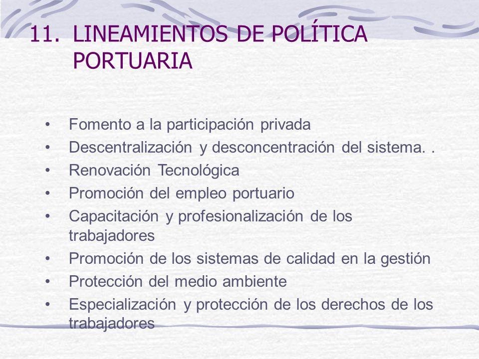11.LINEAMIENTOS DE POLÍTICA PORTUARIA Fomento a la participación privada Descentralización y desconcentración del sistema..