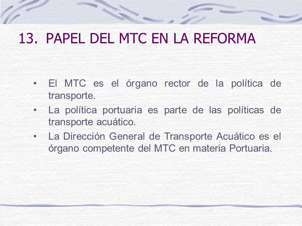 13.PAPEL DEL MTC EN LA REFORMA El MTC es el órgano rector de la política de transporte. La política portuaria es parte de las políticas de transporte