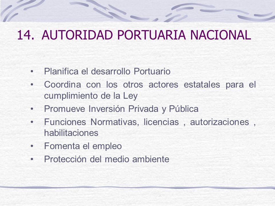14.AUTORIDAD PORTUARIA NACIONAL Planifica el desarrollo Portuario Coordina con los otros actores estatales para el cumplimiento de la Ley Promueve Inv