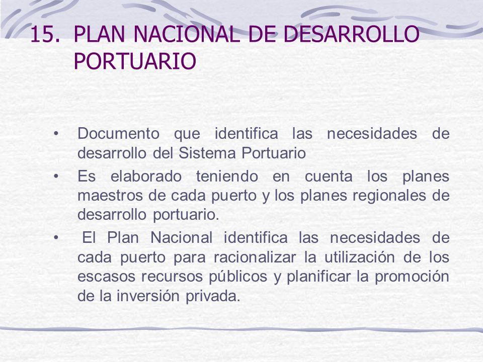 15.PLAN NACIONAL DE DESARROLLO PORTUARIO Documento que identifica las necesidades de desarrollo del Sistema Portuario Es elaborado teniendo en cuenta los planes maestros de cada puerto y los planes regionales de desarrollo portuario.