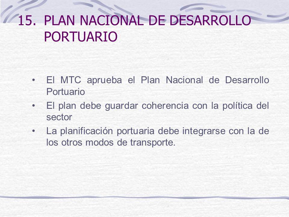 15.PLAN NACIONAL DE DESARROLLO PORTUARIO El MTC aprueba el Plan Nacional de Desarrollo Portuario El plan debe guardar coherencia con la política del sector La planificación portuaria debe integrarse con la de los otros modos de transporte.