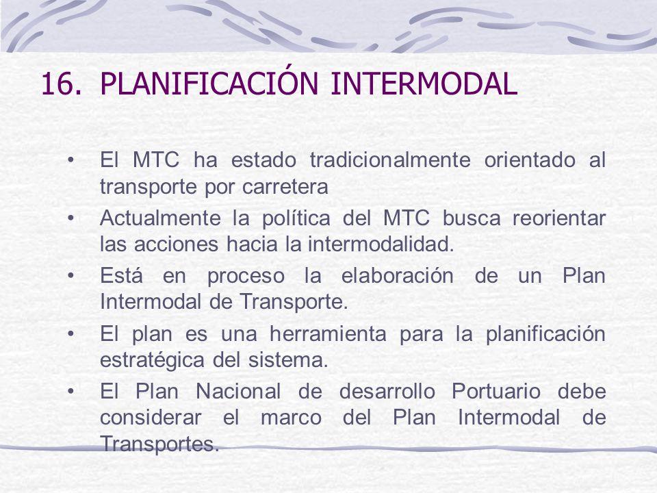 16.PLANIFICACIÓN INTERMODAL El MTC ha estado tradicionalmente orientado al transporte por carretera Actualmente la política del MTC busca reorientar las acciones hacia la intermodalidad.