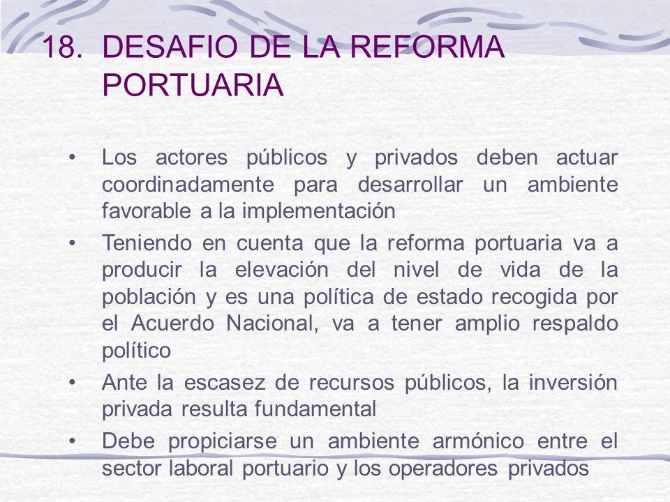 18.DESAFIO DE LA REFORMA PORTUARIA Los actores públicos y privados deben actuar coordinadamente para desarrollar un ambiente favorable a la implementa