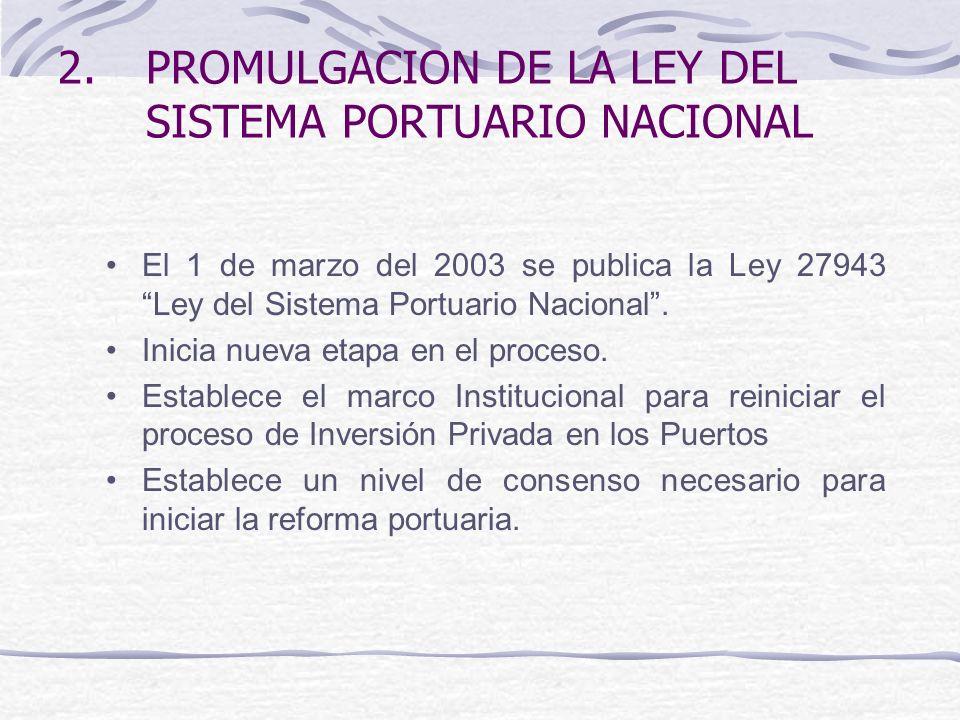 2.PROMULGACION DE LA LEY DEL SISTEMA PORTUARIO NACIONAL El 1 de marzo del 2003 se publica la Ley 27943 Ley del Sistema Portuario Nacional.